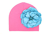 Candy Pink Cotton Hat with Teal Large Rose