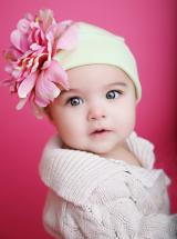Cream Cotton Hat with Pale Pink Large Peony