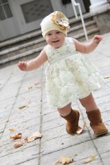 Cream Cotton Hat with Sequins Gold Rose