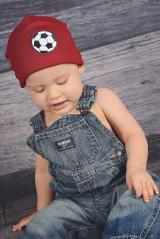 Crimson Applique Hat with Black Soccer Ball