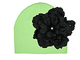 Light Aloe Cotton Hat with Black Large Peony