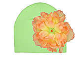 Light Aloe Cotton Hat with Orange Large Peony