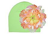 Light Aloe Cotton Hat with Orange Pink Large Peony