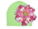 Light Aloe Cotton Hat with Pink Raspberry Large Peony