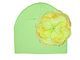 Light Aloe Cotton Hat with Yellow Large Rose