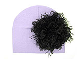 Lavender Cotton Hat with Black Large Curly Marabou