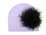 Lavender Cotton Hat with Black Large regular Marabou