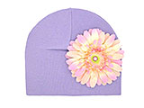 Lavender Cotton Hat with Pale Pink Daisy