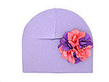 Lavender Cotton Hat with Purple Pink Large Geraniums