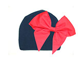 Navy Blue Cotton Hat with Red Bow-Rae-Mi