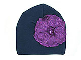 Navy Blue Cotton Hat with Sequins Purple Rose