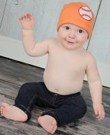 Orange Applique Hat with Baseball