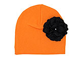 Orange Cotton Hat with Black Large Geraniums