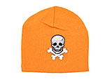 Orange Applique Hat with Black Skull
