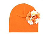 Orange Cotton Hat with Orange White Large Geraniums