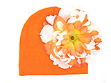Orange Cotton Hat with Orange White Large Peony