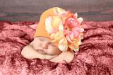 Orange Cotton Hat with Pink Orange Large Peony