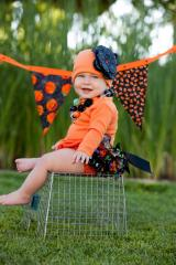 Orange Cotton Hat with Sequins Black Rose