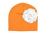 Orange Cotton Hat with White Large Geraniums