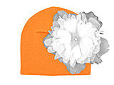 Orange Cotton Hat with White Large Peony