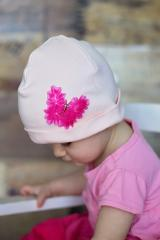 Pale Pink Applique Hat with Butterfly