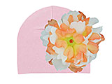 Pale Pink Cotton Hat with Orange White Large Peony