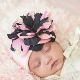 Pale Pink Cotton Hat with Pink Black Large Peony