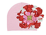 Pale Pink Cotton Hat with Red Pink Large Peony