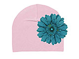 Pale Pink Cotton Hat with Teal Daisy