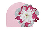 Pale Pink Cotton Hat with White Raspberry Large Peony