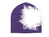 Purple Cotton Hat with Cream Large Curly Marabou