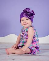 Purple Cotton Hat with Purple Large Rose