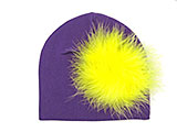 Purple Cotton Hat with Yellow Large regular Marabou