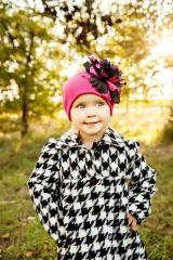 Raspberry Cotton Hat with Black Raspberry Large Peony