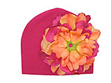 Raspberry Cotton Hat with Orange Raspberry Large Peony