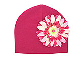 Raspberry Cotton Hat with Pink Raspberry Daisy