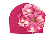 Raspberry Cotton Hat with Pink Raspberry Large Peony