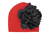 Red Cotton Hat with Black Large Peony