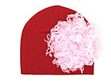 Red Cotton Hat with Pale Pink Large Curly Marabou