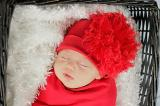 Red Cotton Hat with Red Large Curly Marabou