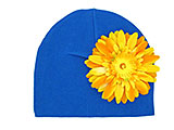 Royal Blue Cotton Hat with Marigold Daisy