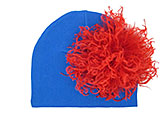 Royal Blue Cotton Hat with Red Large Curly Marabou