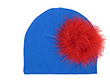 Royal Blue Cotton Hat with Red Large regular Marabou