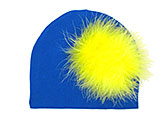 Royal Blue Cotton Hat with Yellow Large regular Marabou