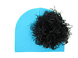 Teal Cotton Hat with Black Large Curly Marabou
