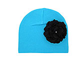 Teal Cotton Hat with Black Large Geraniums