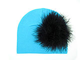 Teal Cotton Hat with Black Large regular Marabou