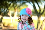 Teal Cotton Hat with Candy Pink Lace Rose