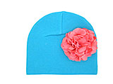 Teal Cotton Hat with Pale Pink Large Geraniums