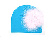 Teal Cotton Hat with Pale Pink Large regular Marabou